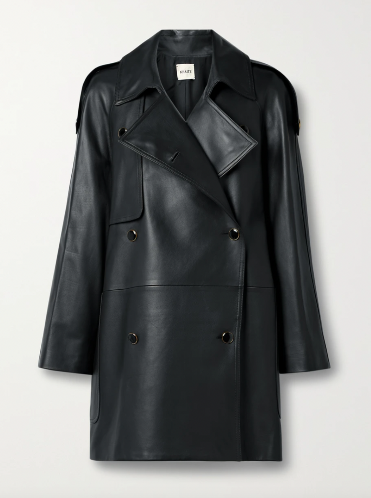 Khaite Eden double-breasted leather trench coat