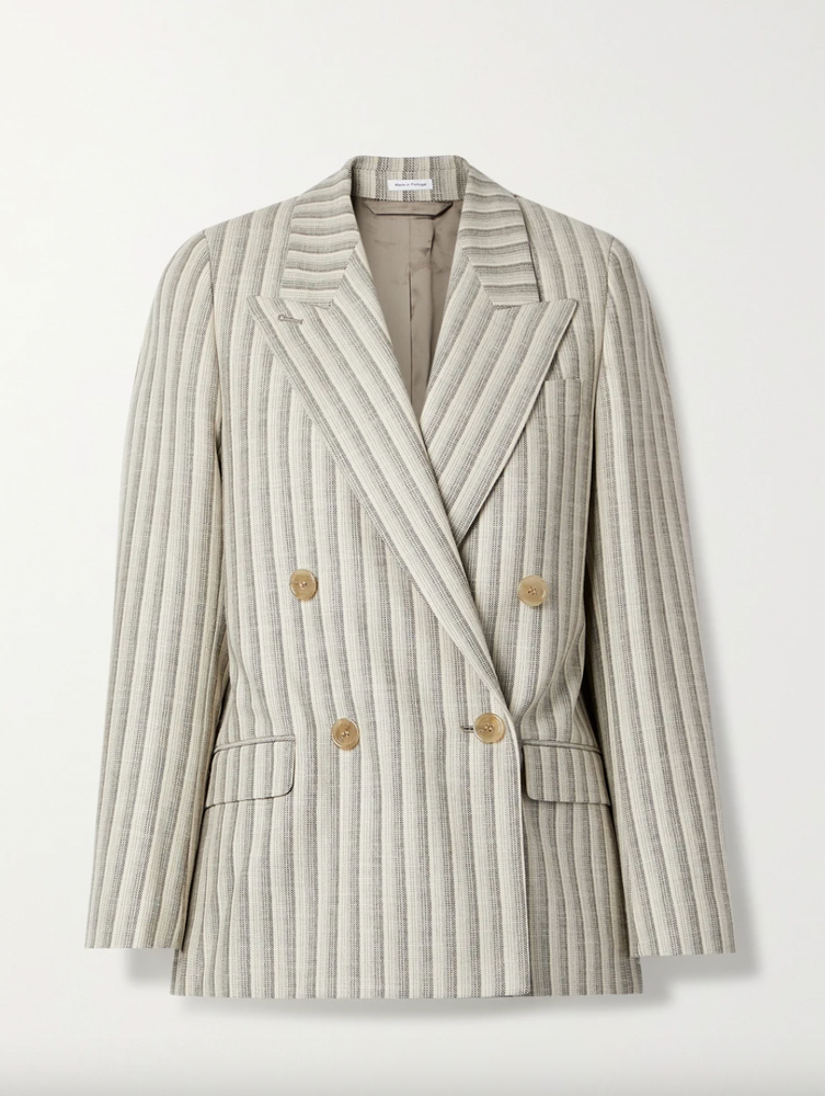 Acne Studios Double-breasted striped wool and cotton-blend blazer