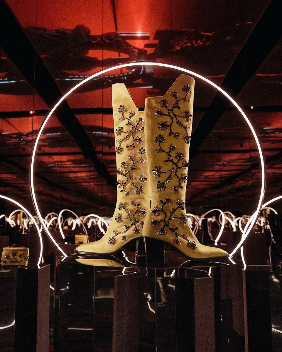 yellow embroidered boots