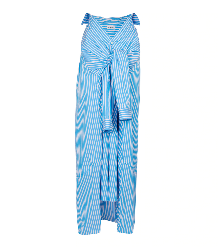 BALENCIAGA Striped cotton poplin maxi skirt
