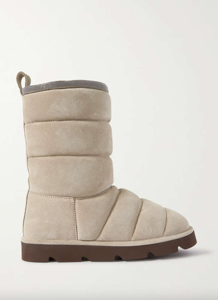 BRUNELLO CUCINELLI Shearling-lined bead-embellished suede ankle boots