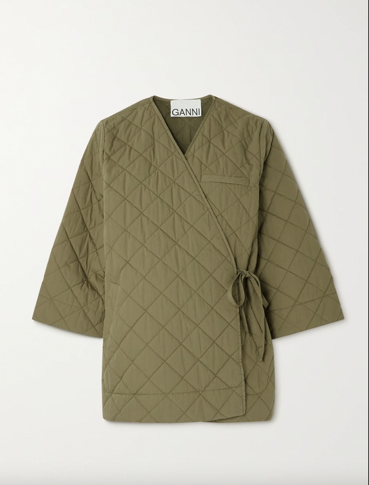 Ganni Quilted canvas wrap jacket