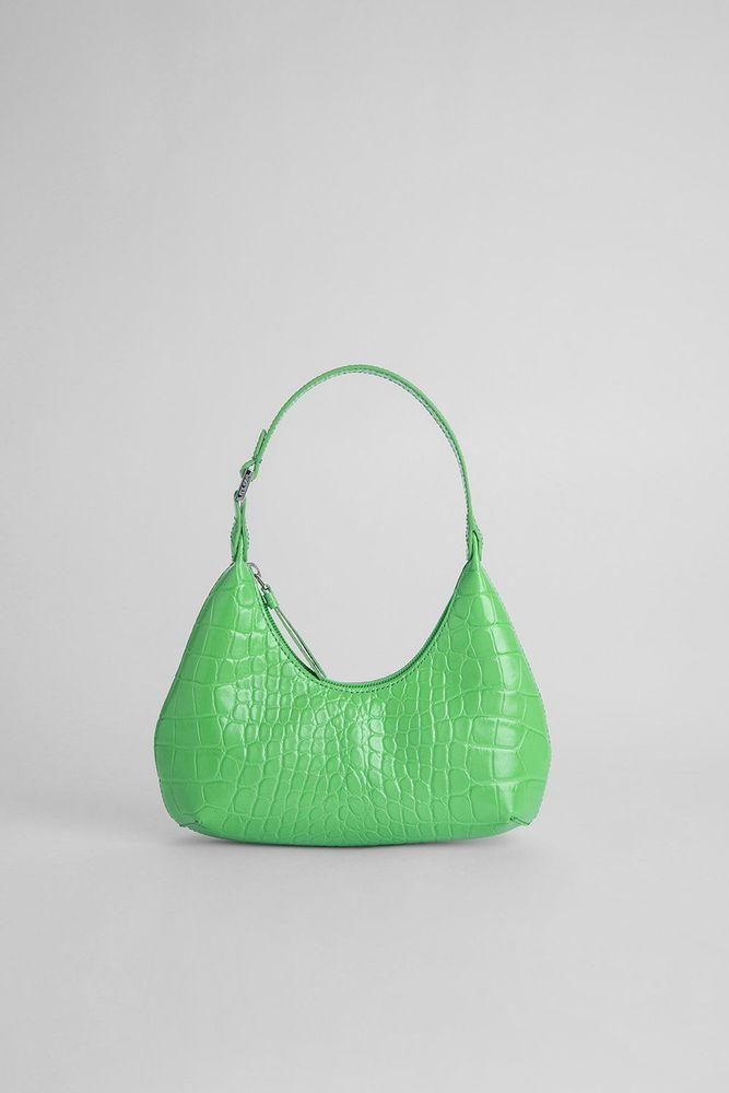 By Far green croco embossed leather handbag