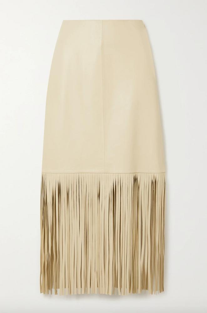 Davidia fringed leather midi skirt