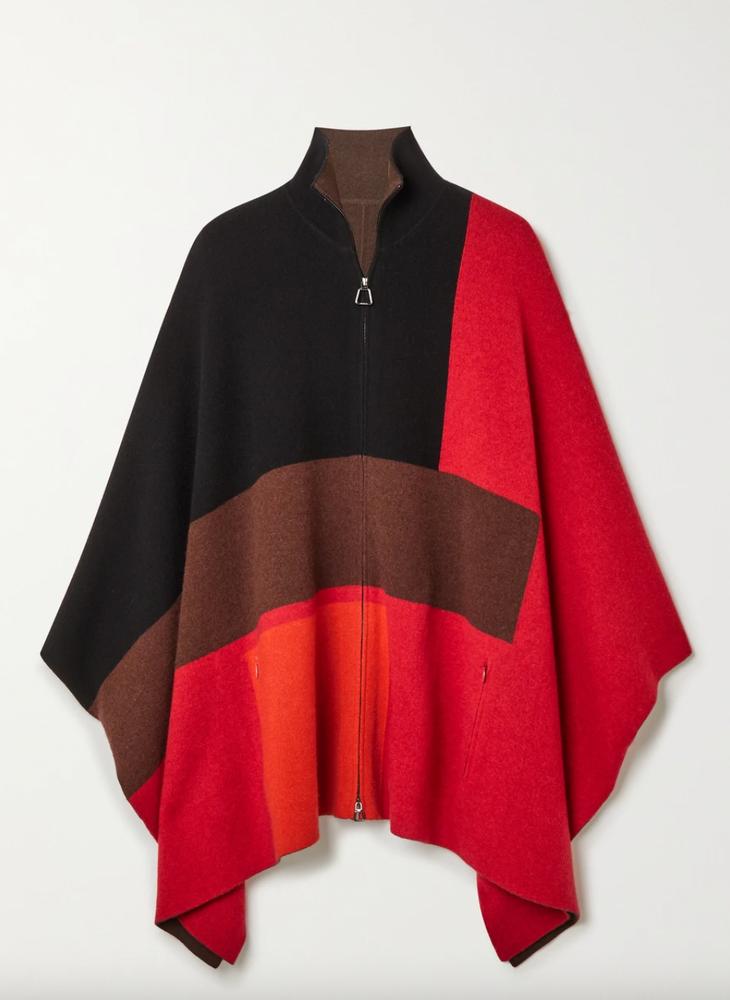 Akris Reversible color-block cashmere poncho