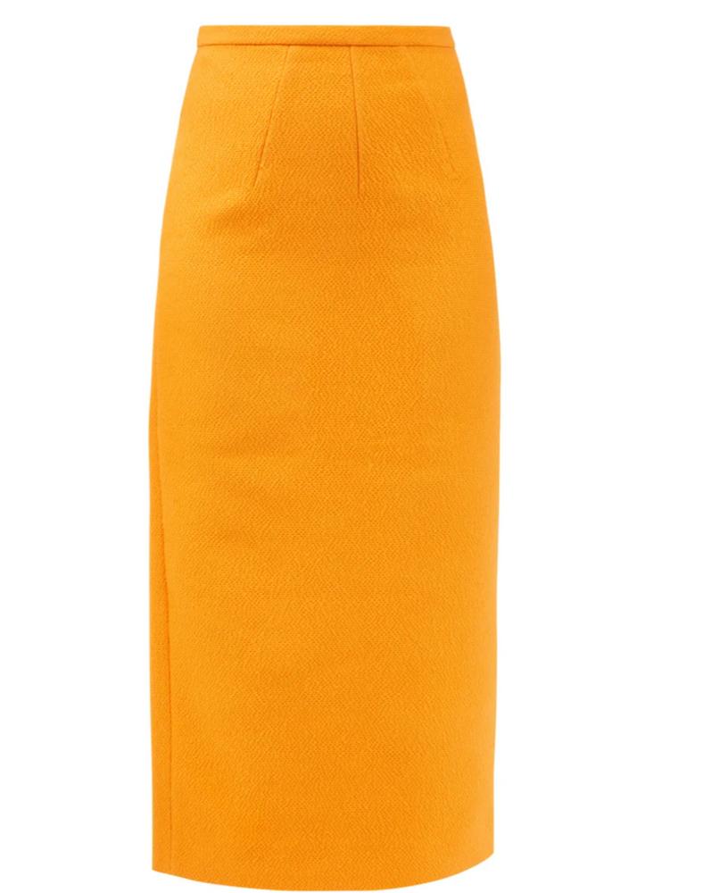 Lorinda high-rise cloqué pencil skirt