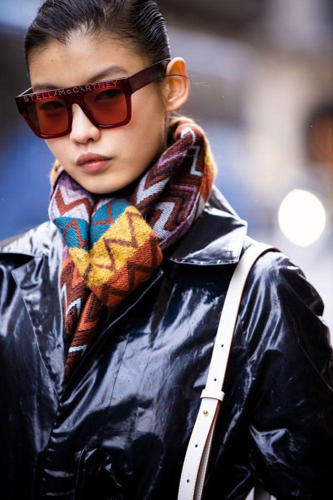 A guest, Stella McCartney sunglasses detail, is seen outside Giambattista Valli, during Paris Fashion Week - Womenswear Fall/Winter 2020/2021