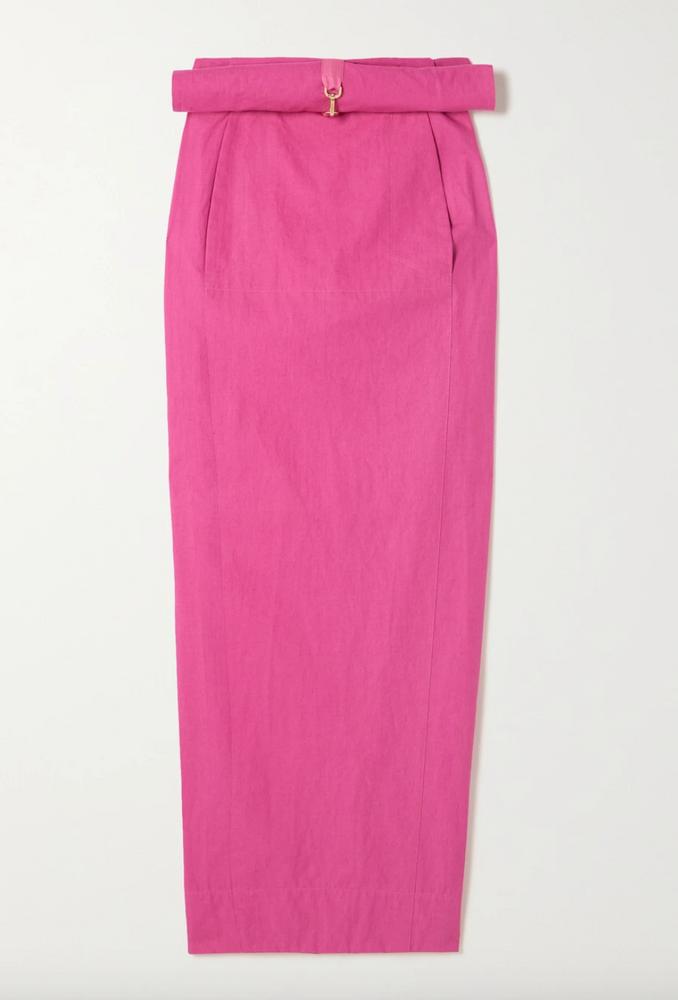 Terra layered linen maxi skirt