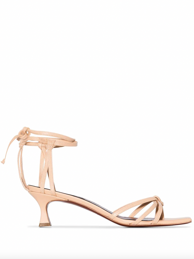 Manu Atelier Lace 50mm nude strappy sandals
