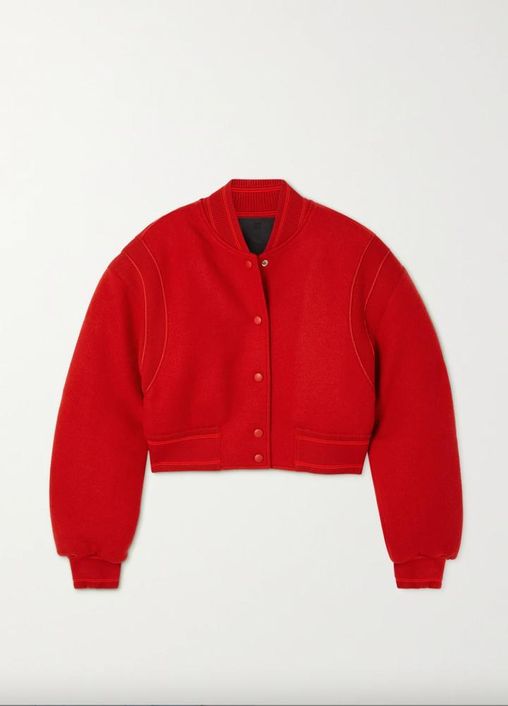 Givenchy Cropped paneled wool bomber jacket