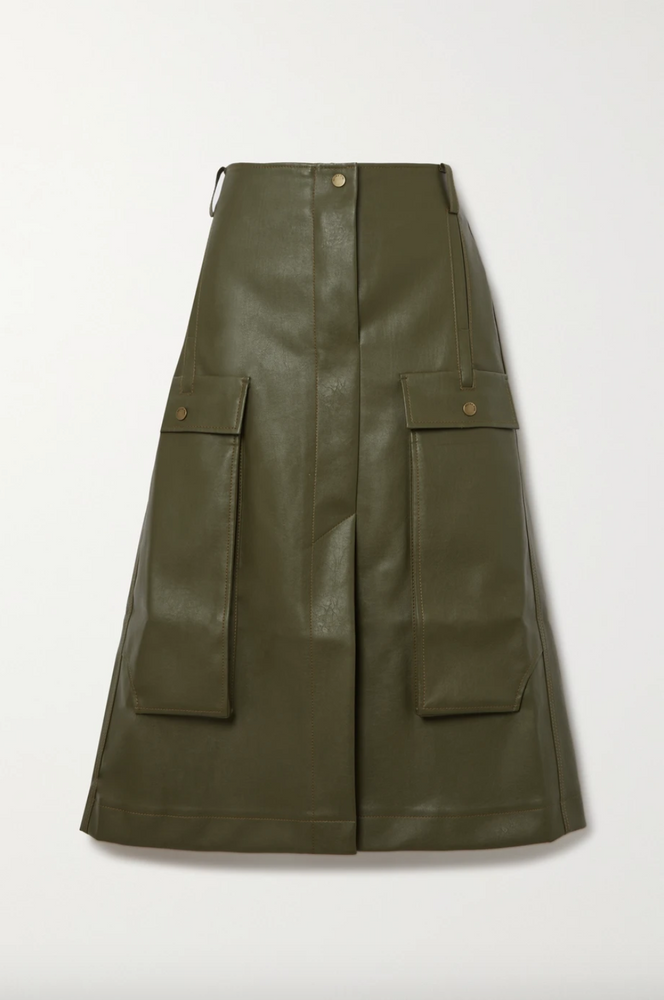 Donna faux leather midi skirt