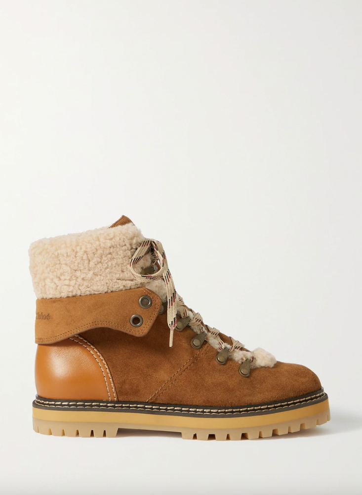 SEE BY CHLOÉ Eilieen shearling-lined suede and leather ankle boots