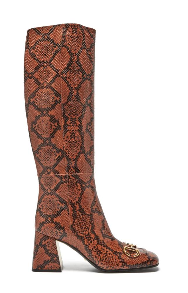 Horsebit python-effect leather knee-high boots