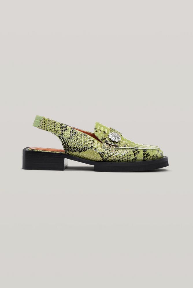 Snakeskin slingback loafers